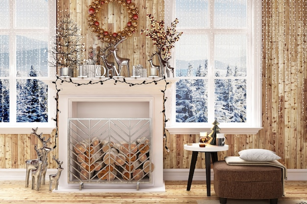 Moderner hausinnenraum mit weihnachtsdekoration und baum des neuen jahres
