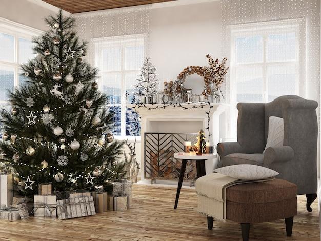 Moderner hausinnenraum mit weihnachtsdekoration und neuem tränenbaum