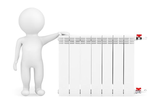 Moderner heizkörper mit 3d-person auf weißem hintergrund