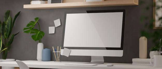Moderner home-office-schreibtisch des 3d-renderings mit computerbedarf und -dekorationen