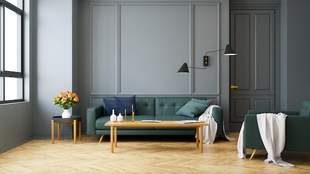 Moderner innenraum der weinlese des wohnzimmers, grünes sofa mit wandlampe auf hölzernem bodenbelag