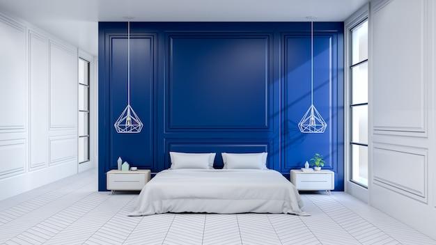 Moderner innenraum des schlafzimmers, weißes bett auf weißem bodenbelag und dunkelblaue wand