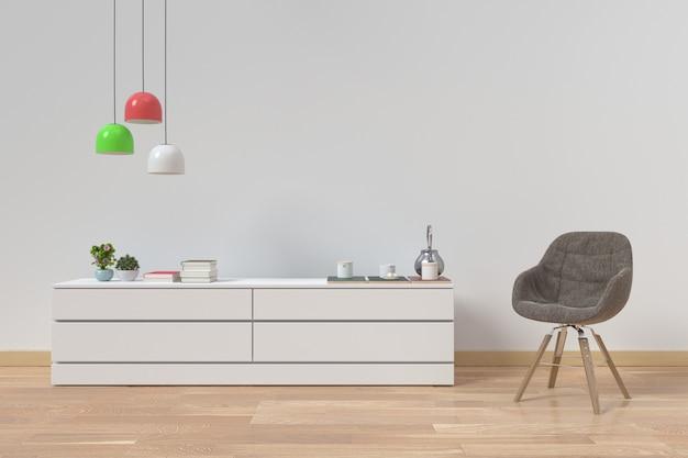 Moderner innenraum des wohnzimmers mit hölzernem sideboard- und lampenlicht, wiedergabe 3d