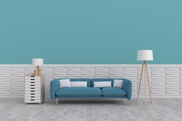 Moderner innenraum des wohnzimmers mit sofa auf bretterboden und dunkelblauer wand