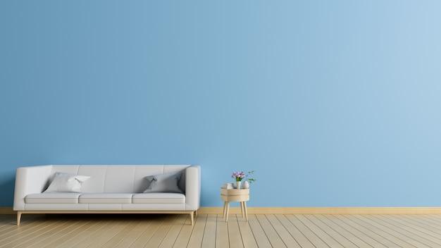 Moderner innenraum des wohnzimmers mit sofa auf hölzernem bodenbelag und blauer wand, wiedergabe 3d