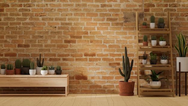 Moderner innenraum im gemütlichen hausgarten, leerraum für ihr produkt, umgeben von kakteen und minimalen pflanzen mit roter backsteinmauer, 3d-rendering, 3d-darstellung