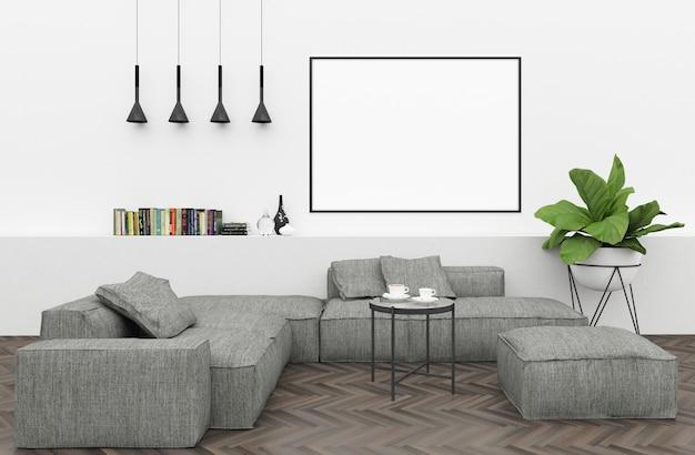 Moderner innenraum mit leerem horizontalem rahmen