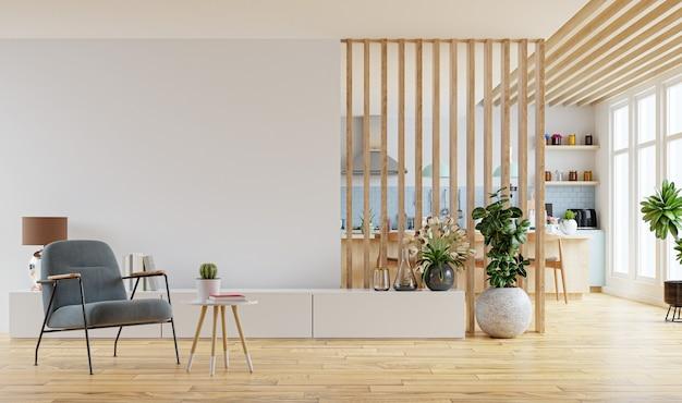 Moderner innenraum mit möbeln. 3d-rendering