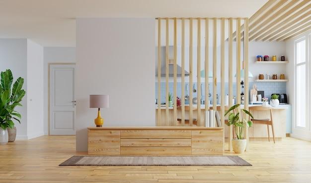 Moderner innenraum mit möbeln, fernsehraum, esszimmer, küche.3d-rendering