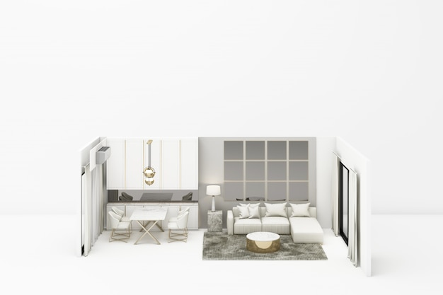 Moderner klassischer stil des innenlebens mit weißen möbeln auf weißem 3d-rendering