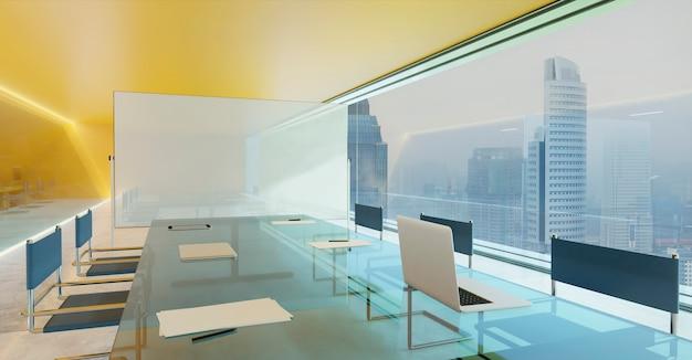 Moderner konferenz-besprechungsraum mit orangefarbener wand, zementboden und glasfassadenbeleuchtung