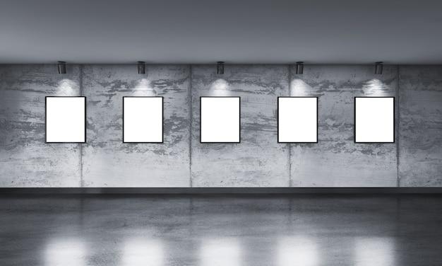 Moderner konkreter galerieraum mit richtungsscheinwerfer