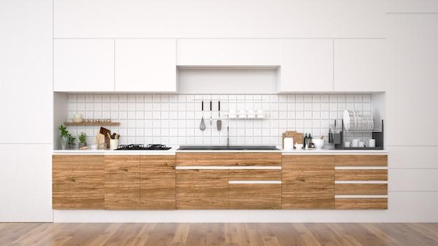 Moderner kücheninnenraum mit möbeln wiedergabe 3d