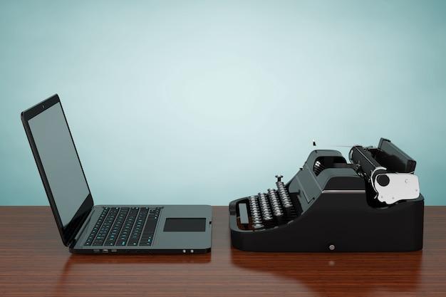 Moderner laptop-computer mit antiker schreibmaschine auf einem holztisch. 3d-rendering.
