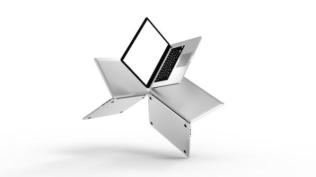 Moderner laptop lokalisiert auf weißem hintergrund. 3d-illustration.
