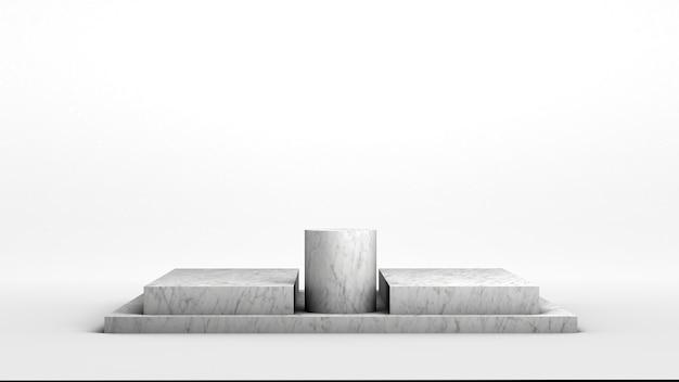 Moderner leerer marmorsockel auf weißem hintergrund, um einige produkte anzuzeigen. 3d-rendering. minimalistisch.