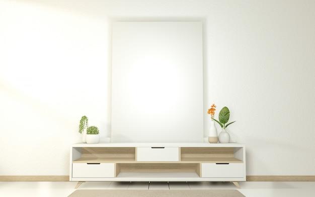 Moderner leerer raum des kabinetts, japanischer stil des minimalen entwurfs.
