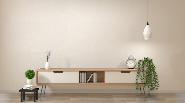 Moderner leerer raum des zen, japanische art des minimalen designs. 3d-rendering