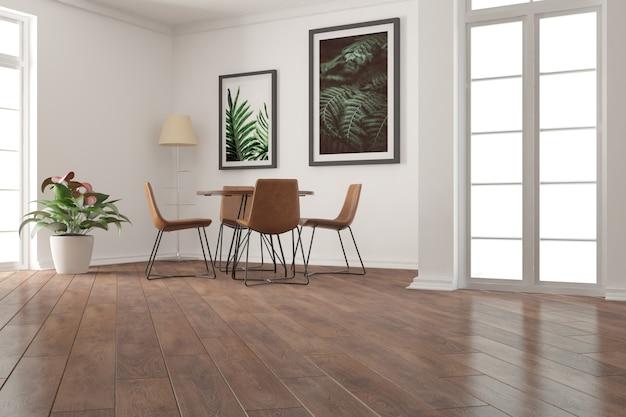 Moderner leerer raum mit tisch, stühlen, pflanzen- und lampeninnenarchitektur.
