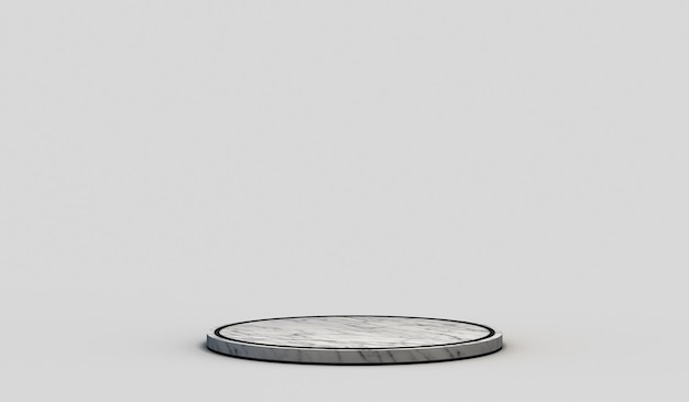 Moderner leerer runder marmorsockel mit schwarzen kanten auf neutralem weißem hintergrund. 3d-rendering.