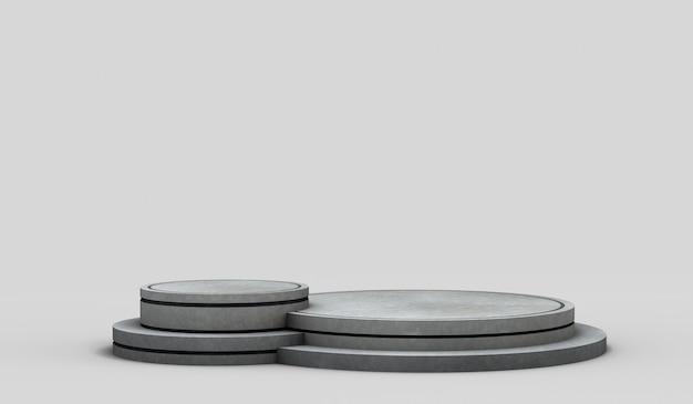 Moderner leerer runder marmorsockel mit schwarzen rändern und zwei höhen zum zeigen von objekten textfreiraum