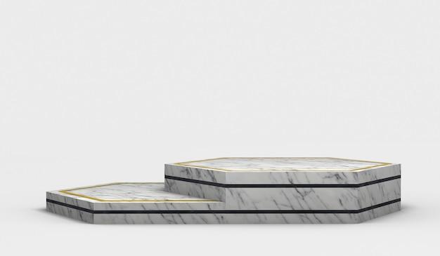 Moderner leerer sechseckiger marmorsockel mit schwarzen rändern und zwei höhen 3d-rendering