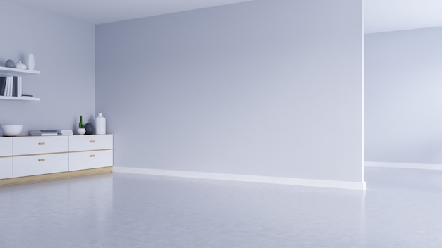 Moderner leerer wohnzimmerinnenraum, weiße wand und konkreter boden mit schwarzem rahmenfenster