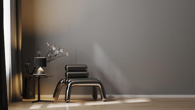 Moderner luxus dunkler töne wohnzimmerinnenhintergrund mit grauer wand, 3d rendern