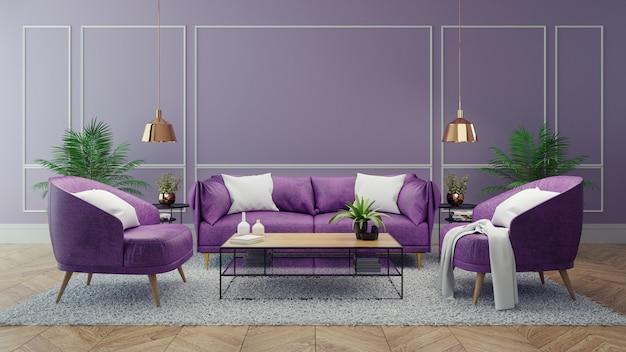 Moderner luxusinnenraum des wohnzimmers, ultraviolettes hauptdekorkonzept