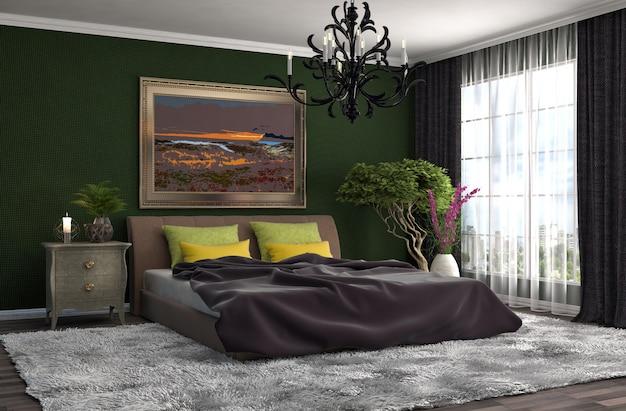 Moderner luxusschlafzimmerinnenraum