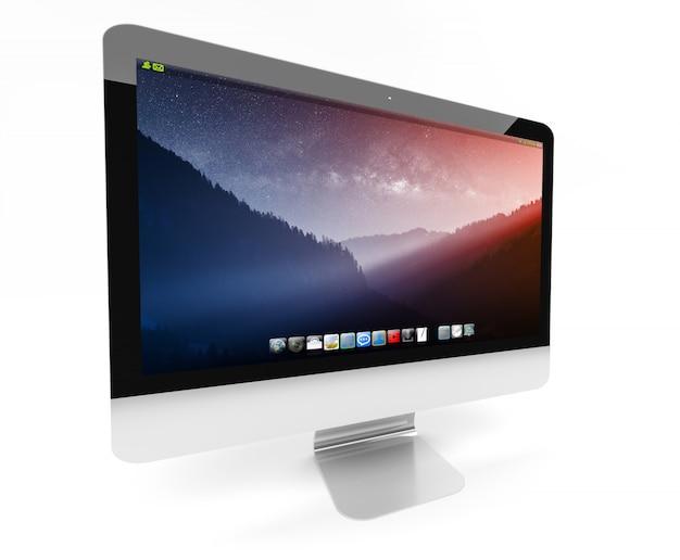 Moderner metallischer computer auf weißer wiedergabe 3d