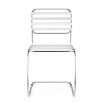 Moderner metallstuhl mit holzbohlen auf weißem hintergrund. 3d-rendering