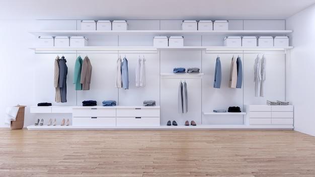 Moderner minimalistischer ankleiderauminnenraum