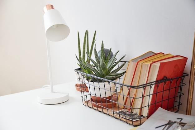 Moderner minimalschreibtisch mit büchern und pflanzen