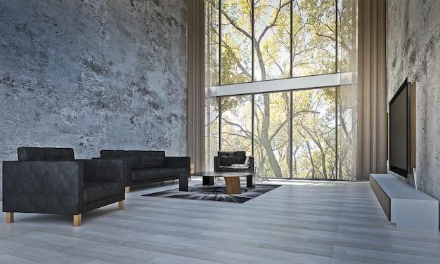 Moderner mock-up-rauminnenraum und wohnzimmer- und wandhintergrund und waldansichthintergrund
