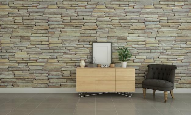 Moderner neutraler wohnzimmerinnenraum mit steinwand