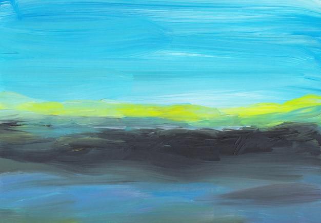 Moderner ölgemäldehintergrund, abstrakte landschaft der blauen, gelben, schwarzen, weißen