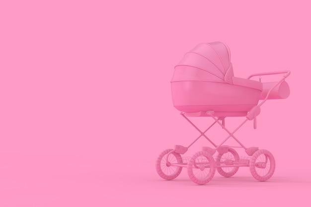 Moderner rosa kinderwagen, kinderwagen, kinderwagen mock up im duotone-stil auf rosa hintergrund. 3d-rendering