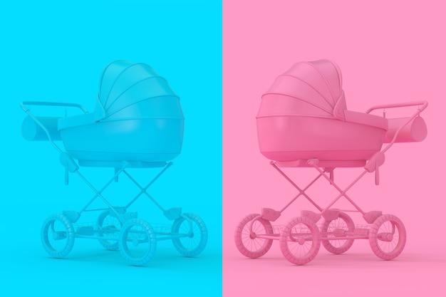 Moderner rosa und blauer kinderwagen, kinderwagen, pram mock up im duotone-stil auf einem rosa und blauen hintergrund. 3d-rendering