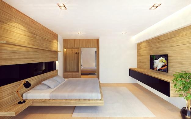 Moderner schlafzimmerinnenraum in der hölzernen dekoration