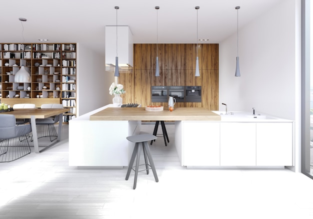 Moderner schulungsraum mit braunen möbeln und olivgrünen wänden. 3d-rendering.