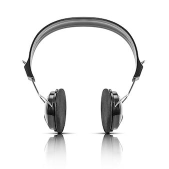 Moderner schwarzer kopfhörer lokalisiert auf weiß