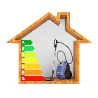 Moderner staubsauger mit energieeffizienz-rating-diagramm in abstrakten ökologischen holzhaus auf weißem hintergrund. 3d-rendering
