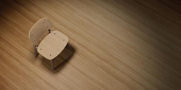 Moderner stuhl platziert auf holzboden mit beleuchtung 3d-illustration