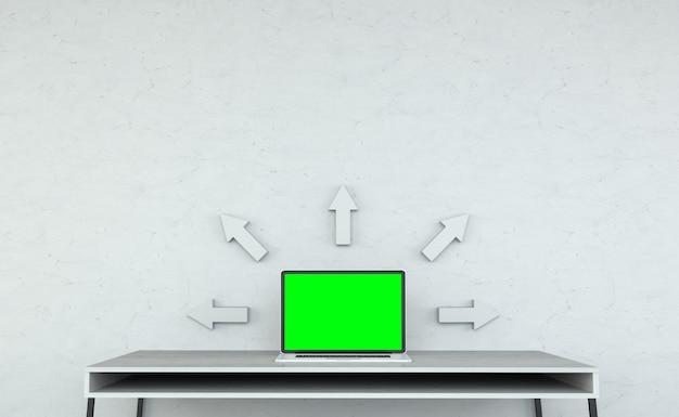 Moderner tischplatteninnenraum mit laptop und grauer wiedergabe der pfeile 3d