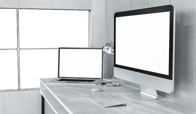 Moderner tischplatteninnenraum mit wiedergabe des computers und der geräte 3d