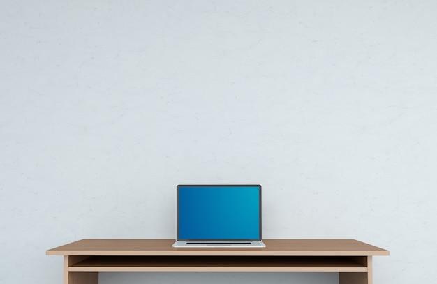Moderner tischplatteninnenraum mit wiedergabe des laptops 3d