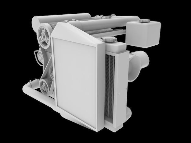 Moderner turbo-automotor isoliert auf schwarzraum. 3d-rendering.