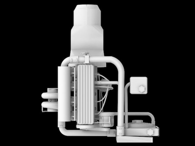 Moderner turbo-automotor lokalisiert auf schwarzer oberfläche
