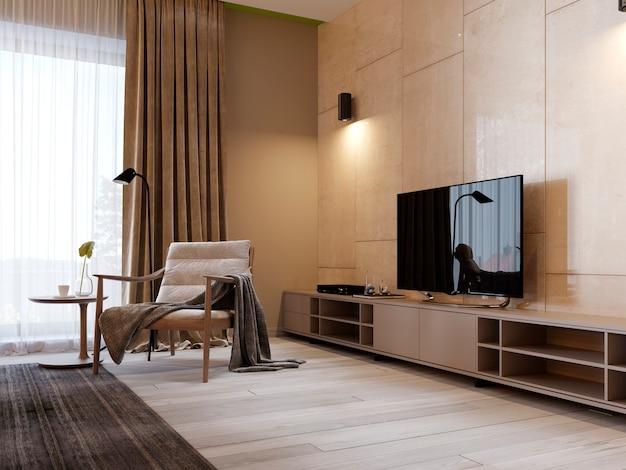 Moderner tv-ständer mit regalen und einem fernseher an der wand in glänzender panenley-beige-farbe. schlafzimmer mit sessel und tv-ständer. 3d-rendering